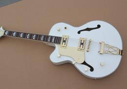 Guitares main gauche corps creux en Ligne-Gaucher Top Quality Custom Shop Blanc Falcon 6120 Semi Hardware Hollow Body Jazz Guitare électrique Avec Tremolo or Livraison gratuite
