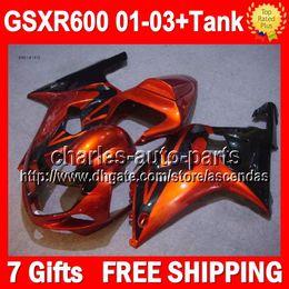 Wholesale 7gifts Tank For SUZUKI GSXR600 Orange black Q3308 GSXR GSXR GSX R600 K1 Orange blk GSX R600 Fairings