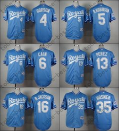 Wholesale Kansas City Royals Jersey turn th Baby Blue Alex Gordon George Brett Lorenzo Cain Salvador Perez Eric Hosmer Bo Jackson