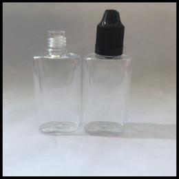 E Liquid Bottle PET 30ml Flat Bottle With Childproof Cap And Needle Tips Dropper Plastic Ejuice Bottle