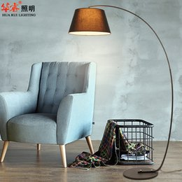 Wholesale Minimalist camber light floor lamp fixtures fabric lampshade standing lamps wrought iron art indoor lightings reading for bedroom v v