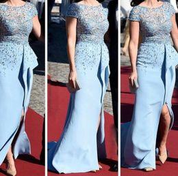 Wholesale Short Sleeve Celebrity Dresses Sheath Zuhair Murad Sheer Lace Top Low Back Slit Ruffles inspired by Sofia Hellqvist Royal Pre Wedding