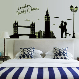 Wholesale Modern London Big Ben Wall Murals Poster stickers decals home room decoration Noctilucent Glow wallpaper Living Room House