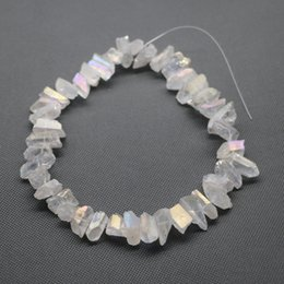 Wholesale 42pcs Strand Raw White AB Crystal Quartz Rock Crystal Natural Freeform Spikes Points Drilled Briolettes Inch Women Necklace