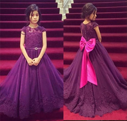 A Line Purple Long Flower Girls Dresses 2016 Jewel Short Sleeves Beaded Appliques Girl's Pageant Dress With Bow Sashes Girls Gown