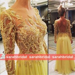 Wholesale Sexy Night Wear Plus - 2016 Cheapest Stunning Prom Dresses New Night Evening Wedding Dinner Party Gowns with Sheer Long Sleeve Beaded Yellow Chiffon Formal Wear