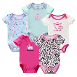 Wholesale Short Overalls For Baby Girls - Wholesale-Baby Bodysuit for Babies Body Bebes 5pcs lot Baby Clothes Overalls for Boys and Girls Short sleeve Ropa de Bebe Free shipping