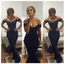 2016 Dark Navy Sexy Mermaid Hi-lo Prom Evening Dresses Off the shoulder Backless Evening Gowns Custom Made Arabic Party Dress Vestidos