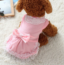 Wholesale Fashion Dog Dress Also For Cats Cheap Pet Apparel Accessories China Manufacturer Lace Chiffon Blue Red Princess dresses