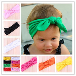 2015 New Cotton blend Baby Headwrap girl hair Bunny Ears headband Bow Strechy Knot Headband Fashion Hairband