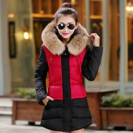 Wholesale 2016 Korean parka women jackets slim nagymaros collar winter down padded cotton jacket women long winter coats outwear big fur collar