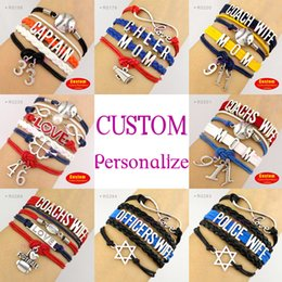 Wholesale-(10 Pieces Lot) Baseball Bracelet Softball Football Captain Cheer Mom Clover Athlete Number Officer Wife Police Wife - Custom