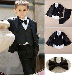 Wholesale 2016 New Popular Custom Handsome Wedding Boy Ring Bearer Suit Jacket Pants Tie Shirt Vest Boy Tuxedo Kid Notch Collar Boys Wedding Suit