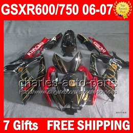 Wholesale 7gifts For SUZUKI GSXR750 BACARDI bats K6 Body GSXR600 L6106 GSX R600 R750 GSXR GSX R750 Red black Fairing