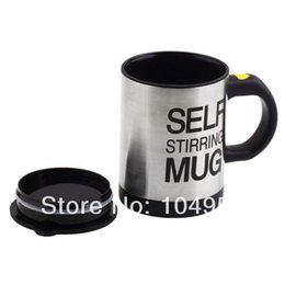 Wholesale New Arrival Stainless Steel Lazy Self Stirring Auto Mixing Mug Coffee Tea Cup Free Express order lt no track