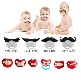 Wholesale HUG Me Baby Pacifier Novelty Teeth Mustache Baby Boy Girl Infant Pacifier Orthodontic Dummy Beard Nipples Pacifiers safe MC