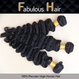 Wholesale Fabulous Best Quality Hot Selling inch Unprocessed Virgin Deep Wave Peruvian Hair Weft Natural Color Hair Weaves Cheap Human Hair