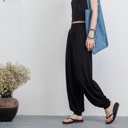 Fashion Women Active Pants Elastic Waist Model Cotton Wide Leg Pants Trousers Women Summer Fall Loose Long Pants