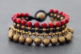 Wholesale-Fresh Red Coral Natural Stone Brass Bead Woven Wrap Bracelets With Jinling Brass Bells Women Wristband Vintage Jewelry Bijoux