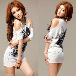 Women Ink Floral Off Shoulder Casual T-Shirt Short Sleeve Long Top Mini Dress #R592