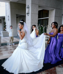 Sexy Mermaid Wedding Dresses Sweetheart Beaded Crystal Bridal Gowns Long Sweep Train Satin Wedding Gowns Custom Made Plus Size Dress