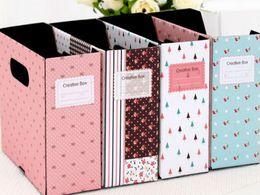 Latas de papel en Línea-Escritorio Floral Home Office útil Papel DIY Tidy-Up Case CAJA Can BIN; Misceláneas del caso de almacenamiento; Lápiz de la pluma de la bolsa del BOX