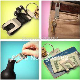 Wholesale Universal Metal Clip Bottle Opener Cord Wrapper Wallet Belt Pocket Clip Keychain Convenient Stainless Steel Tools