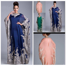 Wholesale Plus Size Column Vintage Arabic Kaftan Royal Blue Evening Prom Dresses Lace Appliques Abaya Dubai Chiffon Mother Of The Bride Formal