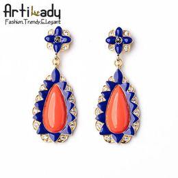 Artilady orange rhinestone earrings vintage gold plating crystal stud earrings for women jewelry for party gift
