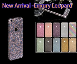 Wholesale Luxurious Full Body Bling Diamond Glitter Rainbow Leopard Front Back Sides Skin Sticker cover For Iphone S Plus S S C