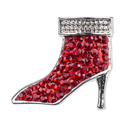 NSB2165 Hot Sale Snap Buttons Jewelry Fashion Lady Shoes Snaps DIY Charms Red Crystal Boots Snaps Silver Metal Buttons