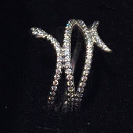 Wholesale High quality Sterling Silver Swirling Snake with Clear CZ Ring European Pandora Style Jewelry Charm