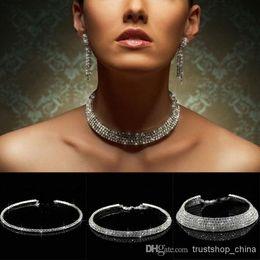 Diamante Crystal Diamond Rhinestone Necklace Choker Silver Wedding Party Chain 1 2 3 4 5 Row