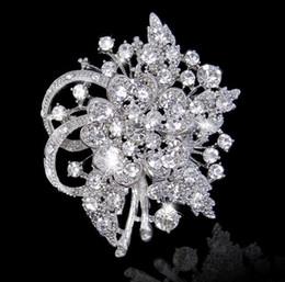 Wholesale 2 Inch Vintage Style Rhodium Silver Brooch Pretty Crystal Bridal Brooch Pins with Rhinestone Crystals