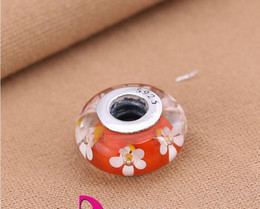 100% Murano glass beads fit Pandora style thread jewelry silver S925 clear stamper DIY meking loose beads diy jewelry