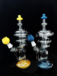 Wholesale Colorful Glass Bong Unique Spiral Designed Bong Two Functions Glass Recycler Hot Selling Glass Water Pipes