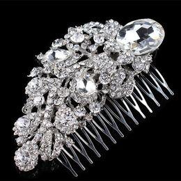 4.4 Inch Big Elegant Large Crystal Rhinestone Flower Bridal Hair Comb Lady Wedding Hair Jewelry H015