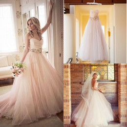 Wholesale Pink Blush Colored Wedding Dresses Real Photo Sexy Sweetheart Tulle With Flower Sash Plus Size Cheap Bridal Gowns Custom Made New