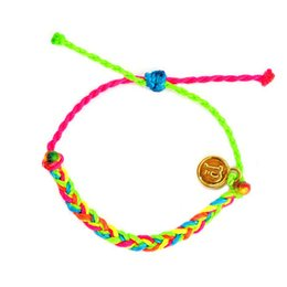 Wholesale-2015 adjustable summer style colourful bright pink green wax string cord braided gold friendship bracelet