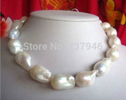 Real Fine Pearl Jewelry huge natural 20-25mm Australian south sea white pearls necklace 18inch 14K