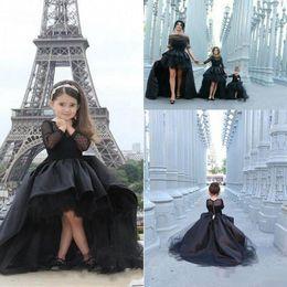 2019 New Black Pageant Dresses For Girls Long Sleeve Cascading Ruffles Pleats Custom Made jewel Girl Junior Pageant Dresses