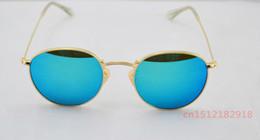 Gafas de sol de color rosa en Línea-Gafas de sol redondas del metal de la alta calidad color de rosa del espejo a estrenar Gafas del oro de los vidrios lente de cristal 50m m para las mujeres para hombre con la caja del paquete