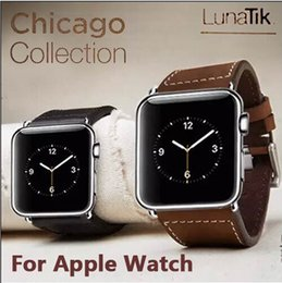 Promotion bracelet en cuir véritable Chicago cuir véritable Apple Suivre Bracelet iwatch remplacement sangles Boucle car je veille Wrist Band 38mm 42mm Classic Edition avec le paquet