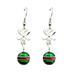 Christmas Decoration Fashion Charms Earrings Silver Color Dangle Bowknot Enamel Racket Long Earrings For Women Jewelry