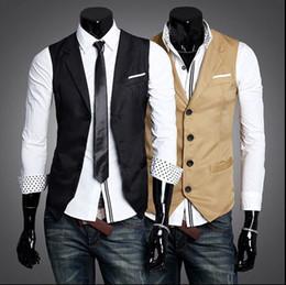 Wholesale Stylish Slim Fit Jackets Men - Men Vests Outerwear Mens vest Man Casual Suits Slim Fit Stylish Short Coats Suit Blazer Jackets Coats Korean M-XXL wedding Mens V-neck vest