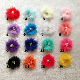 2016 baby girls Mini Tulle Mesh Chiffon flowers Rhinestone Pearl Center Flat Back hair headband children accessory
