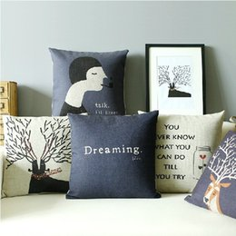 Wholesale Talk I ll listen Abstract Nordic Style cm Linen Cotton Pillow Case Sofa Cushion Cover