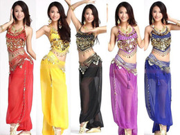 Wholesale 2015 Belly Dance Costume Halter Top Bra Gold Sequin Harem Bollywood Pants Set