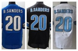 Wholesale Factory Outlet New Barry Sanders Retired Men Elite Football stitched Sanders jersey Mix Order size M XL Light Blue black white jer