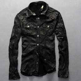 Wholesale 2016 New Men Motorcycle Leather Shirt Jacket Black Plus Size XXXL Genuine Sheepskin Men thin Coat Factory Direct